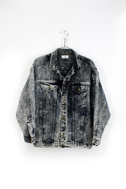 Calvin Klein Sport Black Denim Acid Wash Jacket Made in USA  | Medium. Size 38