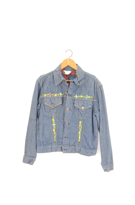 Arak Chamarras Floral Dark Wash Denim Jacket Size 42