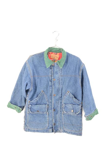 GAP USA Made Corduroy Collar & Flannel Plaid Inside Dark Wash Denim Jacket