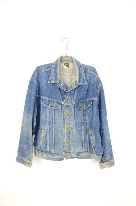 80's Lee XL Dark Wash Faded Denim Jacket