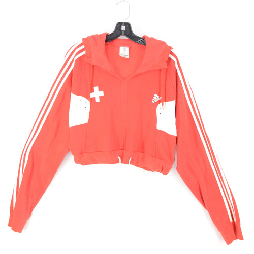 Adidas Red & White Striped Cropped Hoodie US L