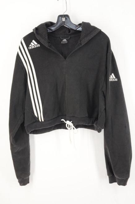 Adidas Classic Black Stripe Cropped Hoodie US XL