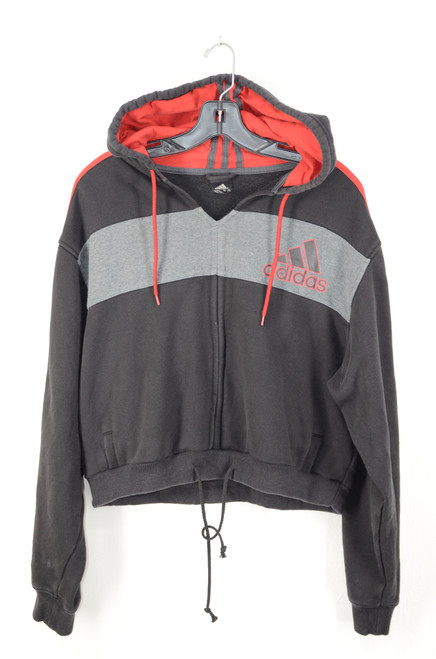 Adidas Black & Red Striped Cropped Hoodie US L