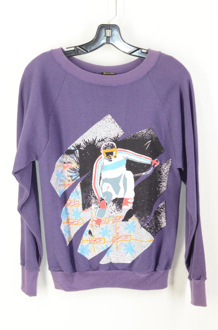 Deadstock USA Made Grape Purple SKI Raglan Crewneck Sweatshirt