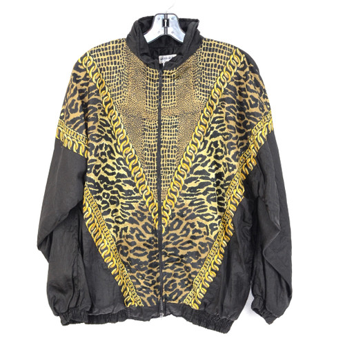 Crazy Print Windbreaker Leopard & Chain Pattern