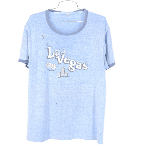 Screen Stars USA Made Las Vegas Poker T Shirt Faded Blue