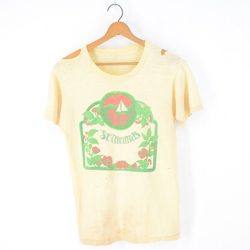 St. Thomas Worn & Torn Faded Yellow Island Graphic T