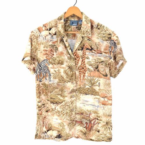 Safari Print Hawaiian Shirt   Pearl Snaps   Men's Small
