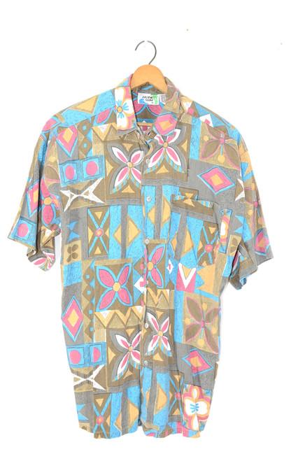 Pacific Floral Viscose / Cotton Blend Hawaiian Shirt   Mens Medium