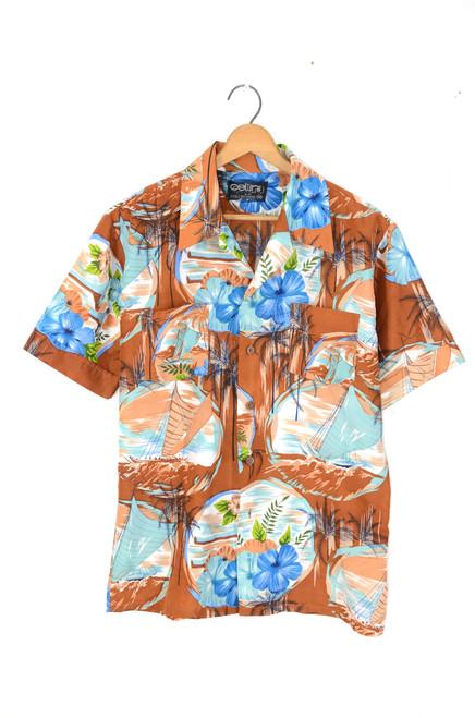 Floral / Nautical Hawaiian Shirt   Mens Medium