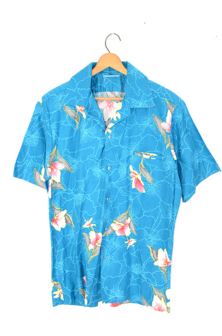 Bright Turquoise Floral Orchid Hawaiian Shirt