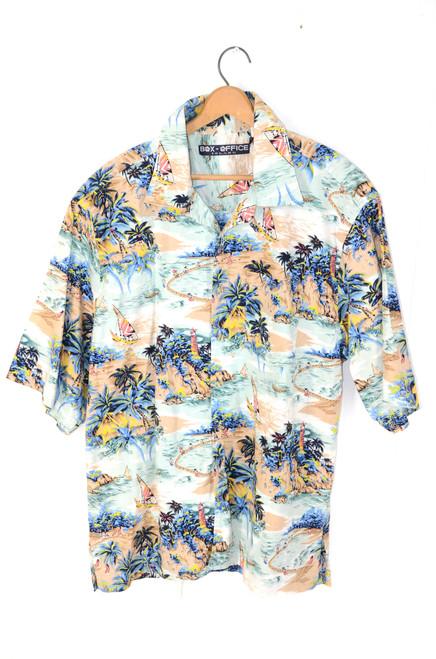 Pierre Cardin Island Tropical 100% Rayon Hawaiian Shirt   Mens Medium