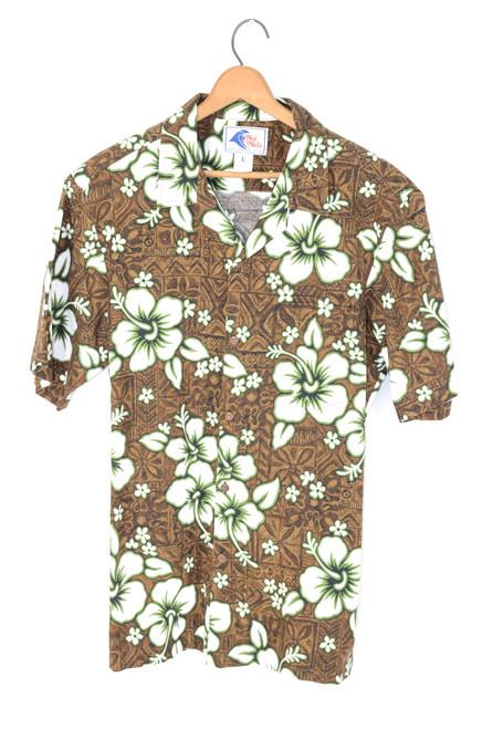 USA Hawaii Made Floral Green and Brown Shirt   Mens Medium
