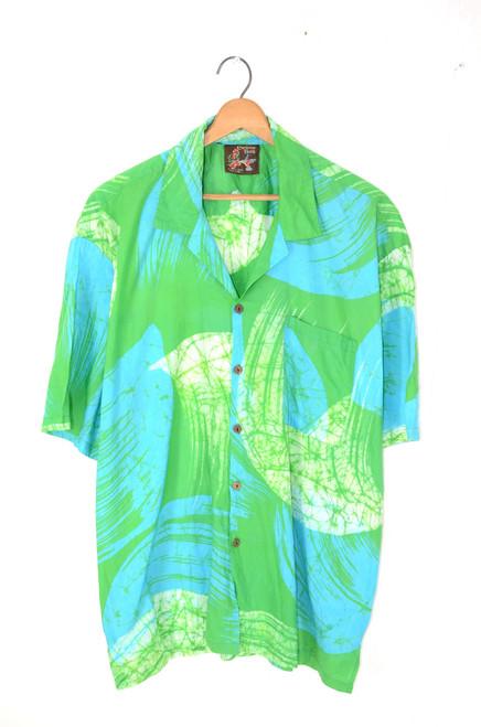 Tropical Hawaiian Shirt   Coconut Husk Buttons   Men's XXL