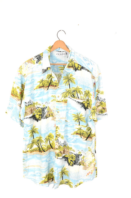 Tropical Island & Mountains 100% Rayon Hawaiian Shirt | Mens Large