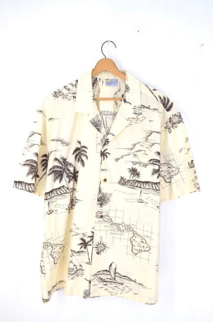 Made in USA Classic Hawaiian Shirt Sepia   Men's XL