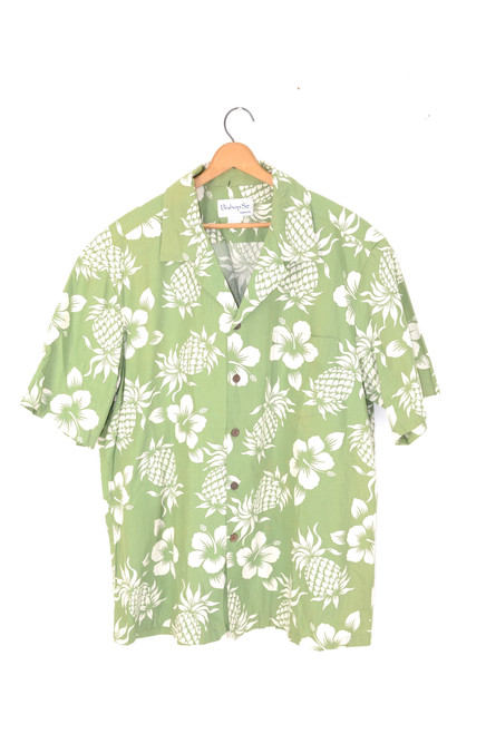 Leaf Green Pineapple/Floral Hawaiian Shirt | Men's Large