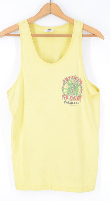 Hanes Bill Blass Collection Banana Yellow JUST SAY NO Pakalolo Hawaii Tank Top