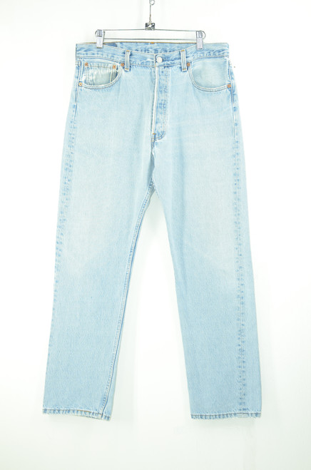 1990s Levis 501 Light Wash Denim. Straight Leg, Button Fly.