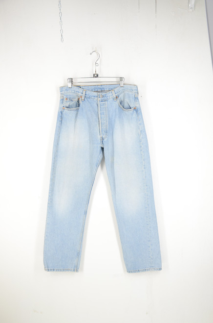 "Levi's 501 Light Wash Straight Leg Denim. Made in USA. 34"" Waist."