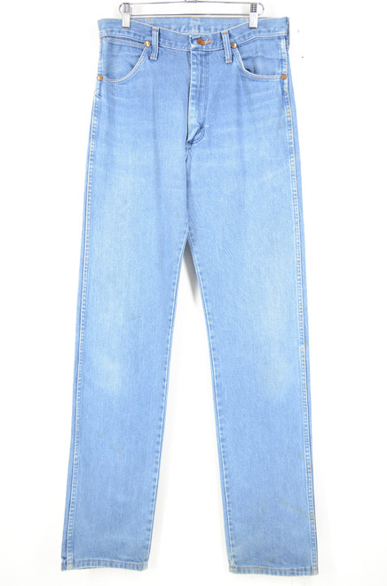 Wrangler, made in USA, classic straight leg, light wash denim, size 30x35.5