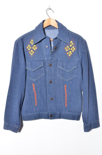 Embroidered 1970s Denim Jacket. Size Small.
