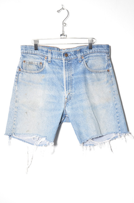 Levis 505 Light Wash Cutoff Denim Shorts 34""