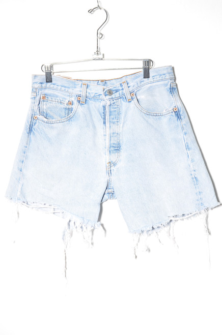Levis 501 Made in USA Distressed Light Wash Cutoff denim Shorts 31""