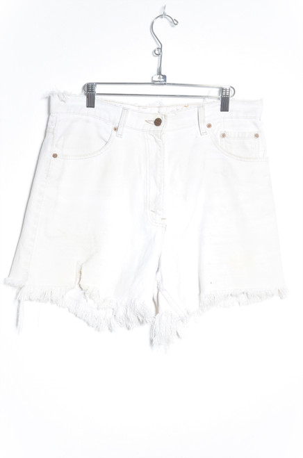 Levis 550 Made in USA Heavily Distressed Cutoff White Denim Shorts 34""