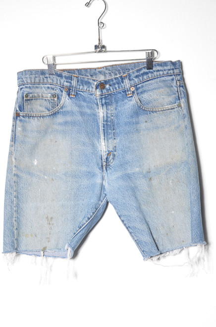 "Levis 505 Made in USA Medium Wash Cutoff Denim Shorts 34"""