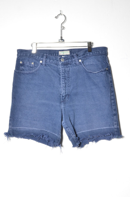 Guess Made in USA Dark Wash High Waisted Undone Hem Denim Shorts 35""
