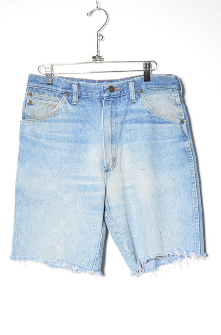 Wrangler Made in USA Light Wash High Waisted Cutoff Denim Shorts 31""
