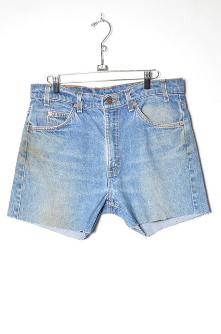 """Levis 505 Made in USA Orange Tab Medium Wash Cutoff Denim Shorts 33"""""""