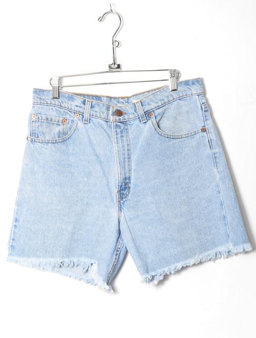 "Levis 550 Made In USA Light Wash Cutoff Denim Shorts 32"""