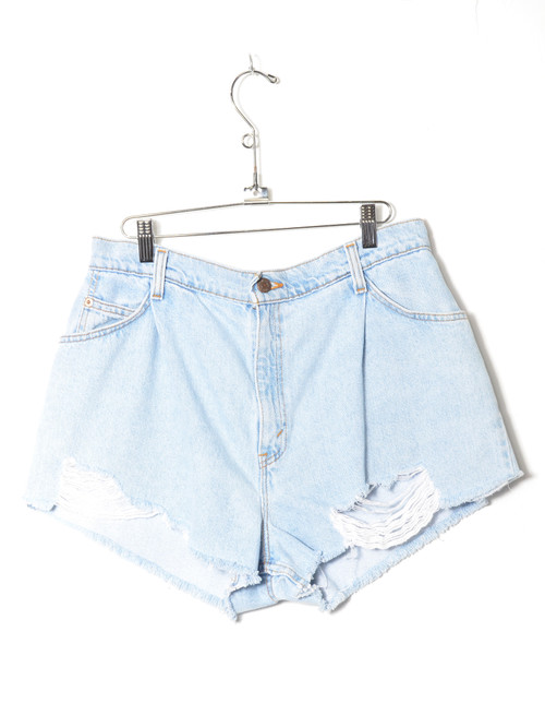 Levis 981 Made in USA Light Wash High Waisted Pleated Cutoff Denim Shorts 32""