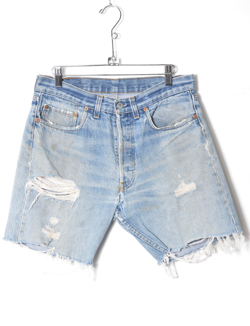 Levis 501 Light Wash Heavily Distressed Cutoff Denim Shorts 31""