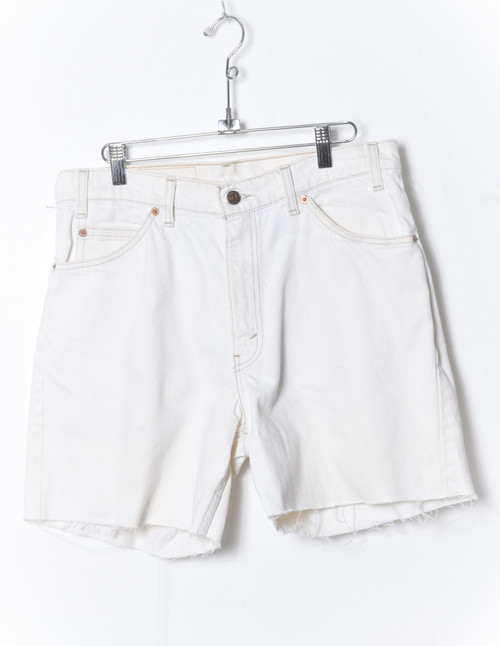 Levis 560 Made in USA Orange Tab White Denim Cutoff Shorts 32""