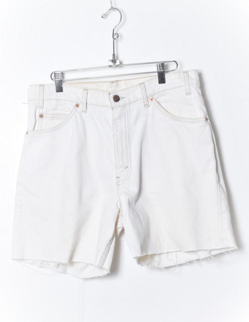 "Levis 560 Made in USA Orange Tab White Denim Cutoff Shorts 32"""