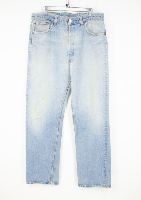 "Levi's 501 sun faded light wash denim. Made in USA. 36"" Waist"