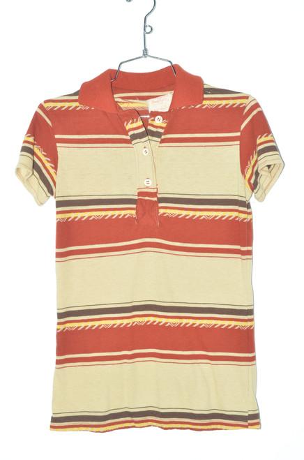 USA Handmade Striped Polo 70's | 32 XS