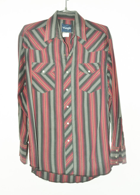 Wrangler Vertical Stripe Snap Button Shirt Cotton/Poly Blend | 44 Large