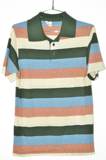 Burnout Triple Tone Striped Polo Shirt | 36 Small