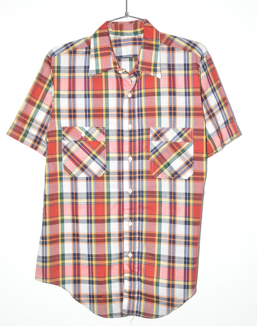 No Brand Checkered Short Sleeve Button Up | 44 Large