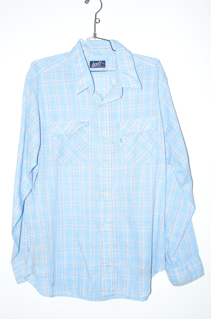 Levis XL Baby Blue & Red Accent Button Up | 48 XL