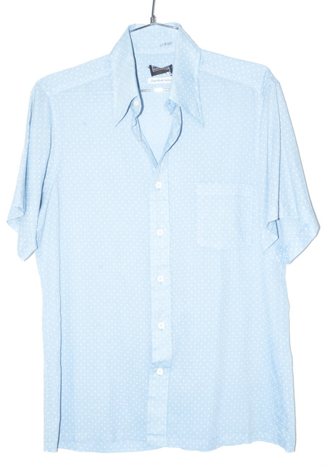 Bloomingdales Men's Blue Polkadot Short Sleeve Button Up | 40 Medium