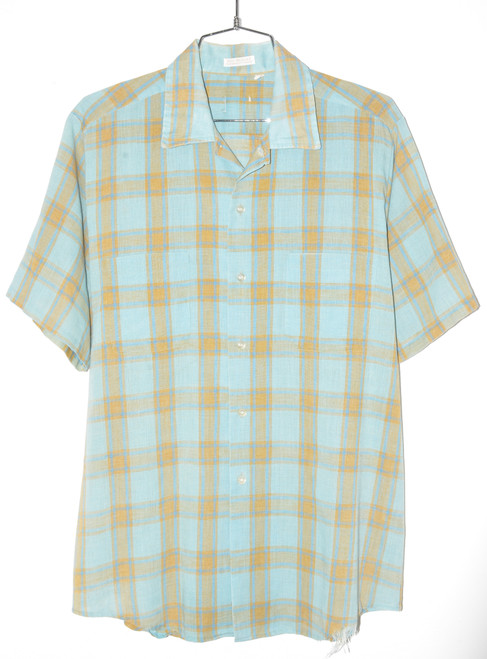 Late 60's/Early 70's Checkered Blue &  Button Up   46 Large