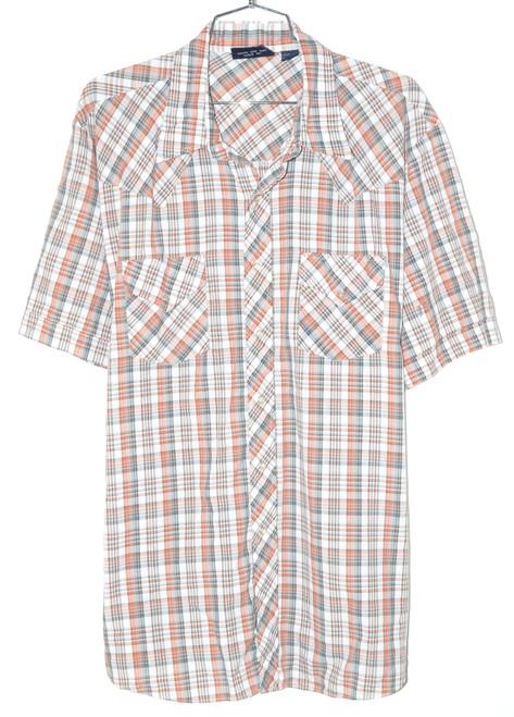 Short Sleeve Button Up Checkered Shirt  50 XXL