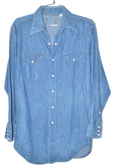 Dark Wash Western Style Denim Snap Button Up Shirt | 40 LG/MD
