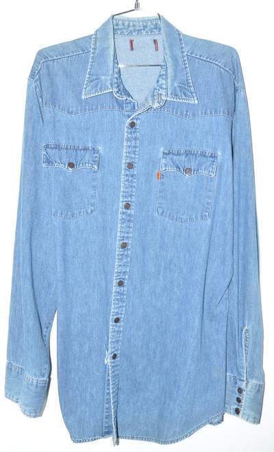 Levis Orange Tab Medium Wash Western Style Denim Shirt | 52 XXL
