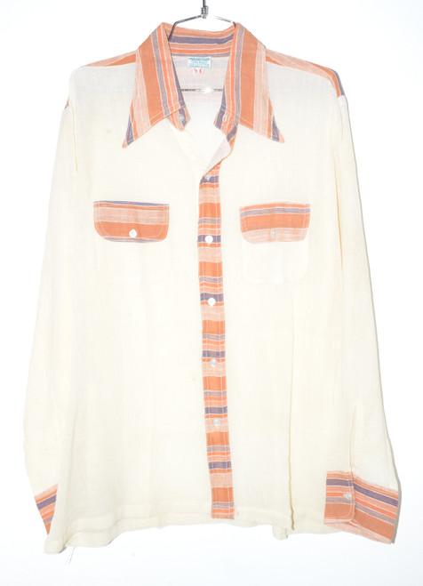 Handmade India Gauze Men's Button Up Shirt | 44 Large